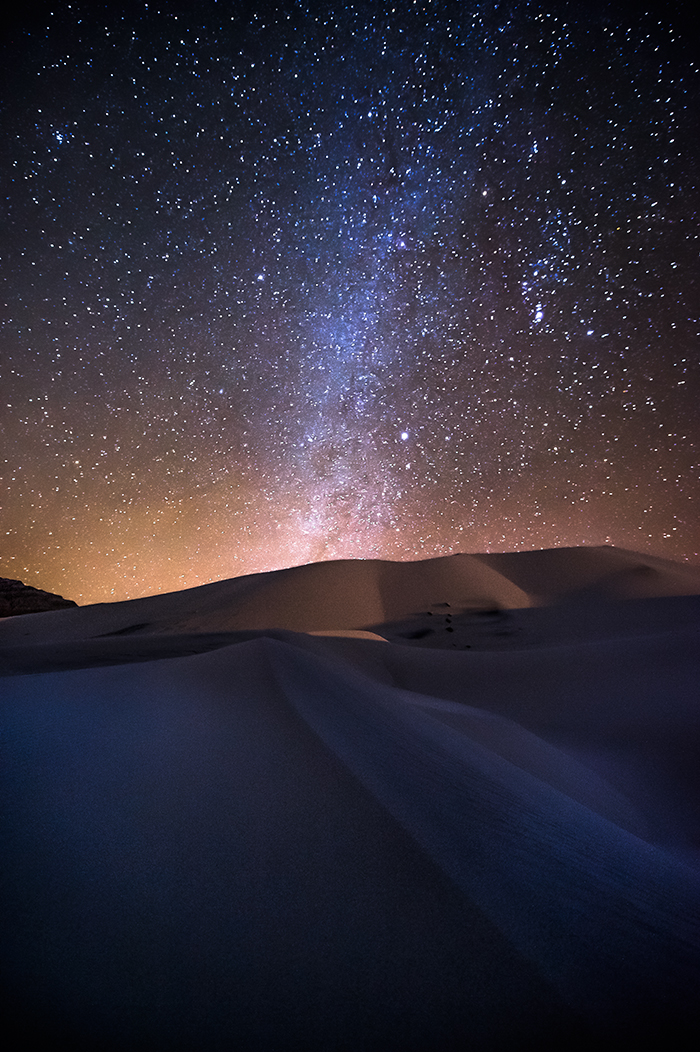 Prominent view of milky way over Eureka Dunes Death Valley, Take at approximately 2am.