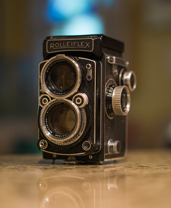 This Rolleiflex was most likely produced from 1956-1959. It is a Twin lens Reflex medium format film camera with a Schneider Xenotar 2.8/80mm lens.